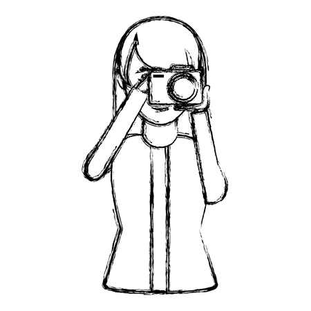grunge woman with camera take picture and blouse vector illustration