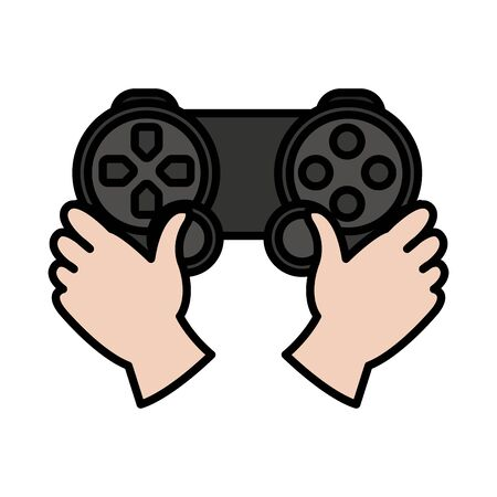 Color hands with video game controller play console. Illustration