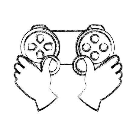 grunge hands with videogame controller play console vector illustration Illustration