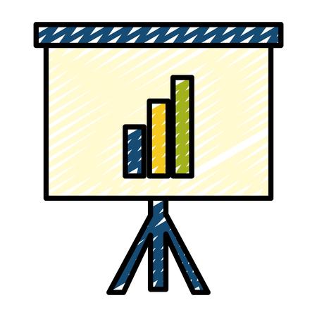 doodle presentation statistics growing graphic bar vector illustration