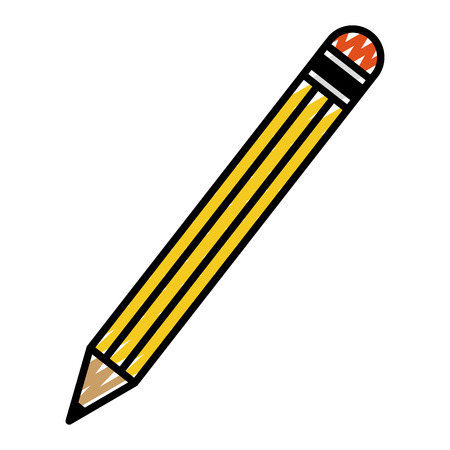 doodle pencil school object to drawing and write vector illustration Illustration