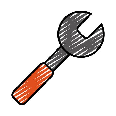 doodle service wrench repair maintenance equipment vector illustration Illustration