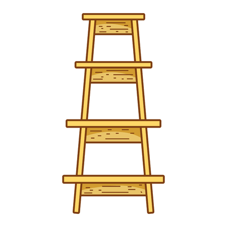 wood ladder step construction object vector illustration  イラスト・ベクター素材