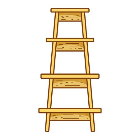wood ladder step construction object vector illustration Illustration