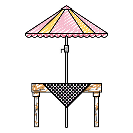 doodle wood dining table with umbrella protection vector illustration Illustration