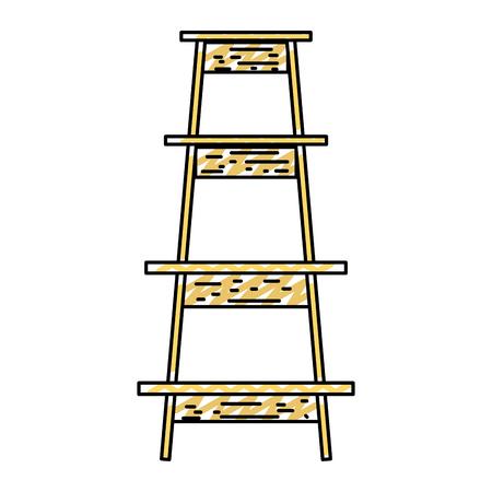 doodle wood ladder step construction object vector illustration Illustration