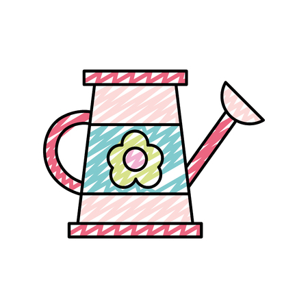 doodle plastic gardening watering can object vector illustration