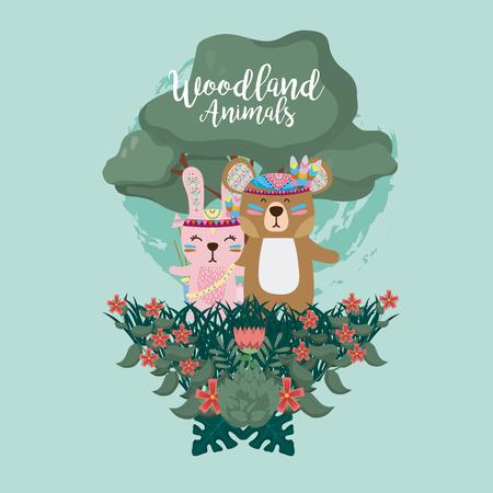 Rabbit and bear woodland animals cute cartoons over blue background