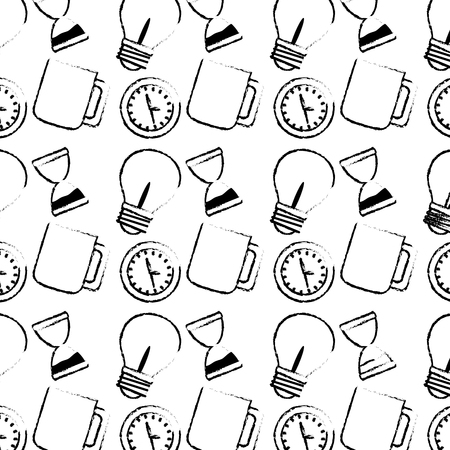 Hourglass clock and bulb pattern
