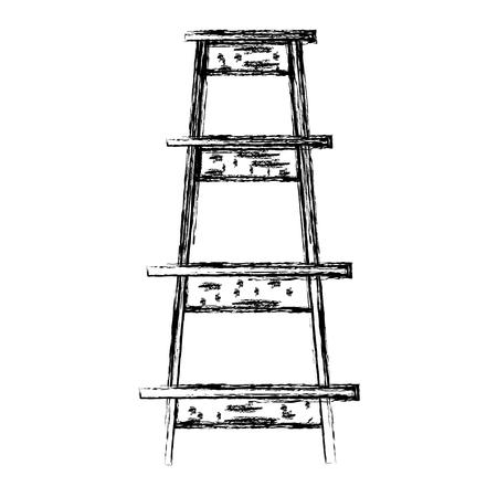grunge wood ladder step construction object vector illustration