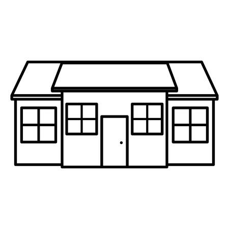 línea gran casa residencial con ventanas y puerta ilustración vectorial Ilustración de vector