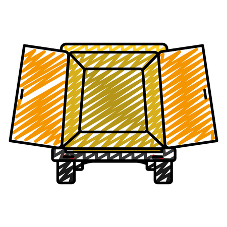 doodle trunk delivery transport with doors open vector illustration Illustration
