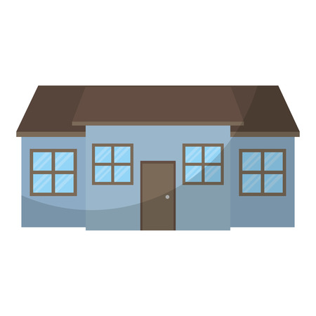 Gran casa residencial con ventanas y puerta ilustración vectorial