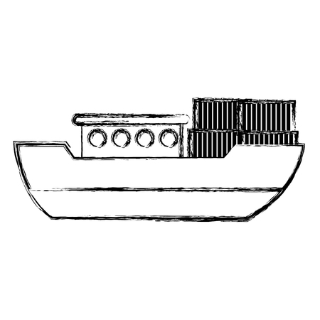 grunge ship delivery transport with metal containers vector illustration