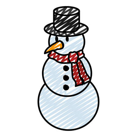 doodle snowman with hat and scarf in winter weather vector illustration