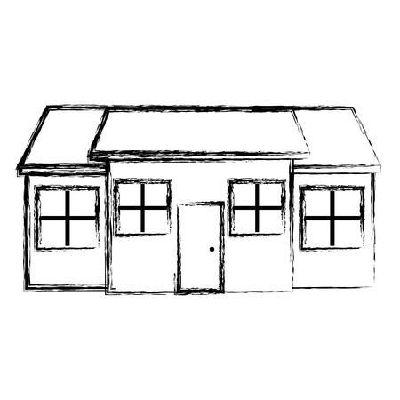 Grunge gran casa residencial con ventanas y puerta ilustración vectorial