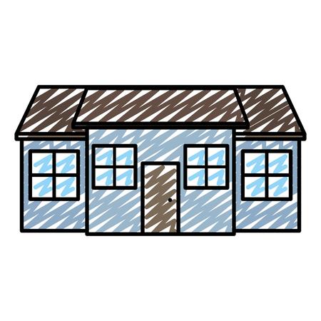 Doodle gran casa residencial con ventanas y puerta ilustración vectorial