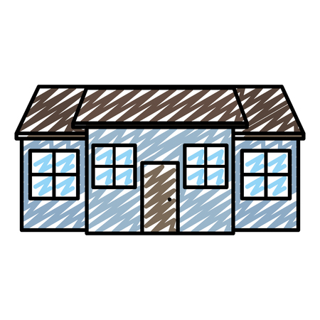doodle big residential house with windows and door vector illustration Illustration