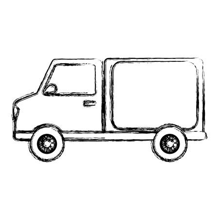 grunge trunk tranport delivery vehicle service vector illustration