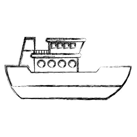 grunge ship delivery sea transport service vector illustration