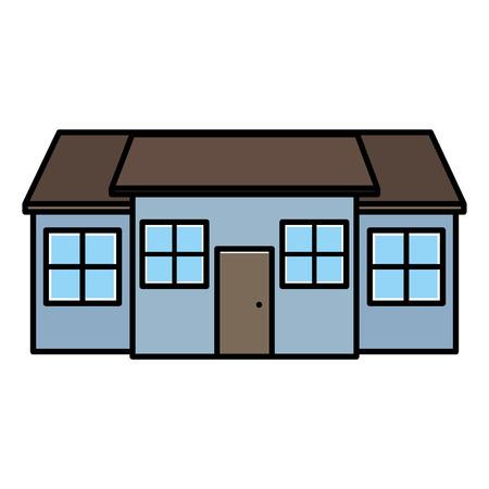 Color gran casa residencial con ventanas y puerta ilustración vectorial Ilustración de vector