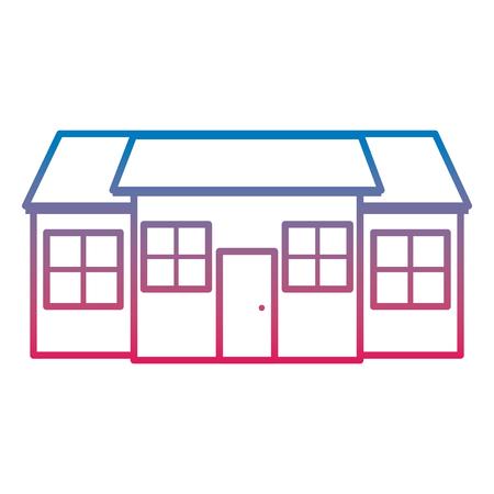 Línea residencial grande casa residencial con ventanas y puerta ilustración vectorial