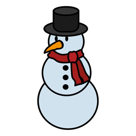 color snowman with hat and scarf in winter weather vector illustration