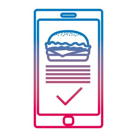 degraded line smartphone with hamburger online order technology