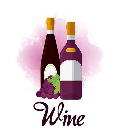 Wine luxury bottles concept vector illustration graphic design
