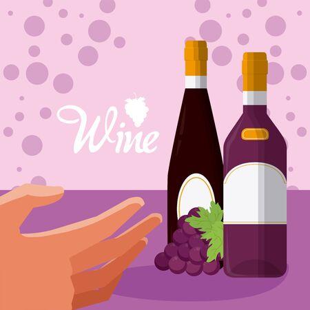 Hand grabbing wine bottles over purple bubbles background vector illustration graphic design Illustration
