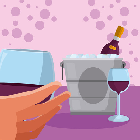 Hand with wine cup and ice bucket over purple bubbles background vector illustration graphic design