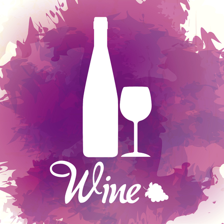 Wine bottle silhouette on purple splash vector illustration graphic design