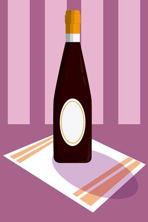 Wine bottle served over tablecloth