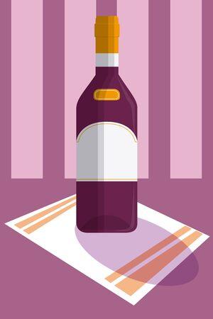 Wine bottle served over tablecloth vector illustration graphic design Illustration
