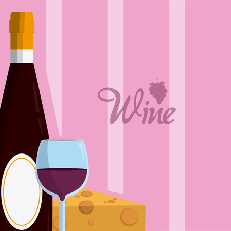 Wine bottle with cup and cheese vector illustration graphic design Illustration