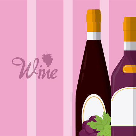 Wine bottles with grapes vector illustration graphic design