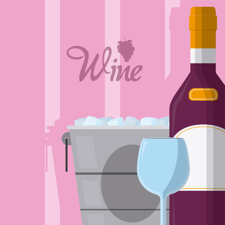 Wine bottle with cup vector illustration graphic design Illustration