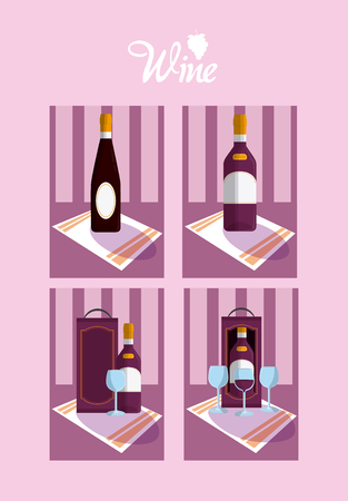 Set of wine cards collection vector illustration graphic design