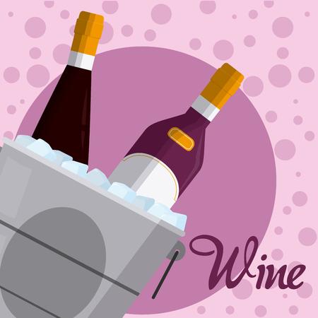 Wine bottles on ice bucket Illustration