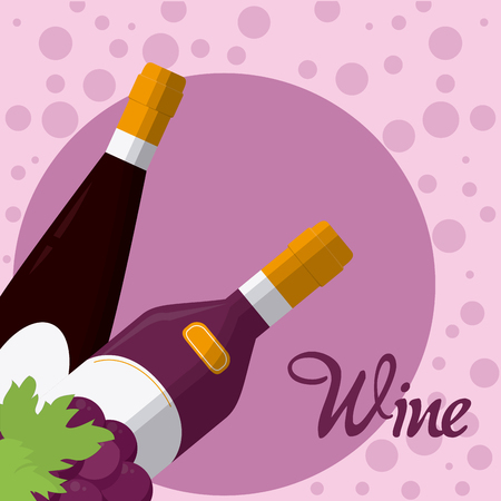 Wine bottles with grapes on purple bubbles vector illustration graphic design Illustration