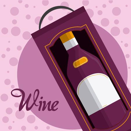 Wine bottle in box Illustration