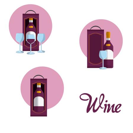 Wine round icons