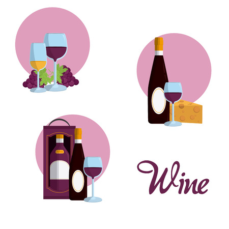 Wine round icons collection vector illustration graphic design