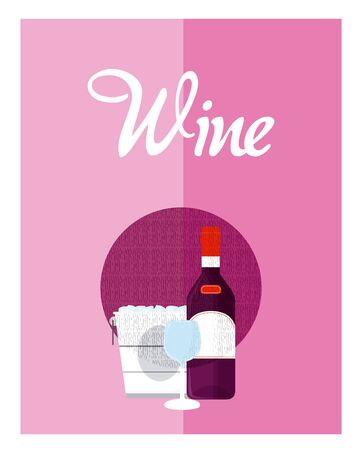 Wine menu cover with bottle and cup vector illustration graphic design