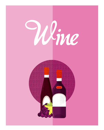 Wine menu cover with bottles vector illustration graphic design