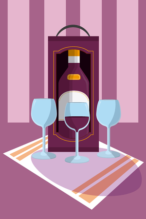 Wine bottle with cups on tablecloth vector illustration graphic design