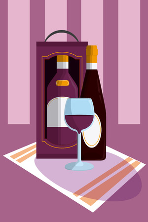 Wine bottle with cup on tablecloth Illustration