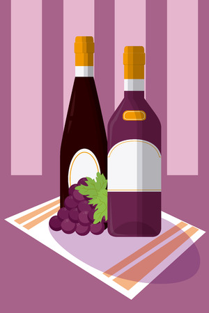 Wine bottle with grapes on tablecloth vector illustration graphic design Illustration