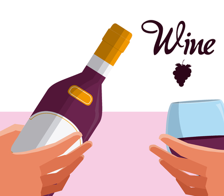 Wine bottle and cup Illustration
