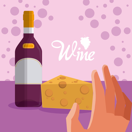 Wine bottle and cheese Illustration
